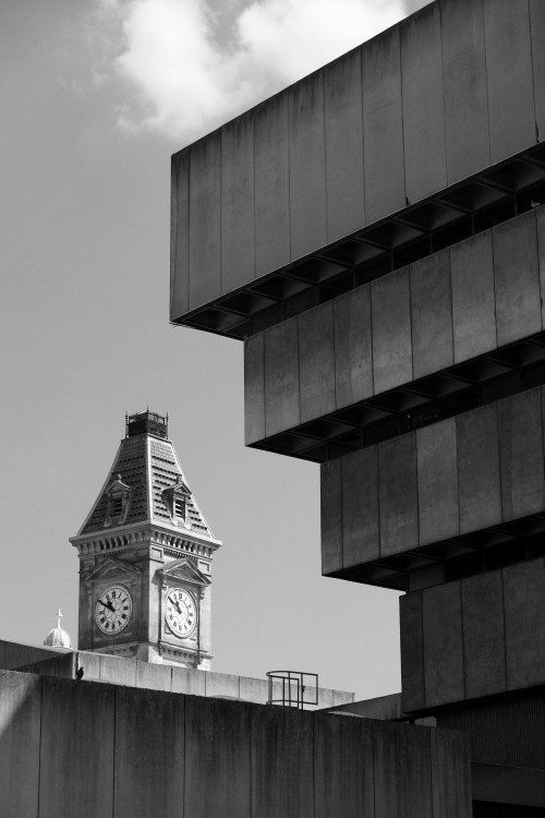 scavengedluxury:  Brutalist/Neoclassical faceoff. Birmingham, April 2013.