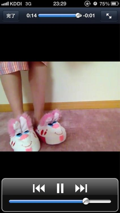 kyarychan:  [11:29 PM] I bought some cute bunny🐰 slippers but haven't had any chances to wear them so I could show people, so I uploaded a video on my official LINE[11:30 PM] If you walk while wearing them the bunny's ears pop up[11:33 PM] I purchased them at a Toys'R'Us in LA RT @xxxkokoa10xxx: @pamyurin Kyary-chan! Where do they sell these slippers? (^~^) (picture)