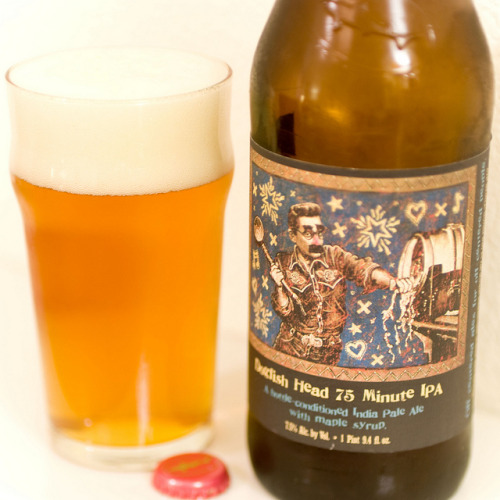 Dogfish Head | 75-Minute IPA, Barrel Conditioned with Maple Syrup Although Dogfish Head has no limits when it comes to brewing beers, most of recently have been some crazy out of this world combination of funkdafied ingredients - this bottle of 75-Minute IPA keeps it simple with just Maple Syrup. Pours a very fizzy golden amber and drinks crisp and bright. Enjoying this beer quite a bit, excellent job.