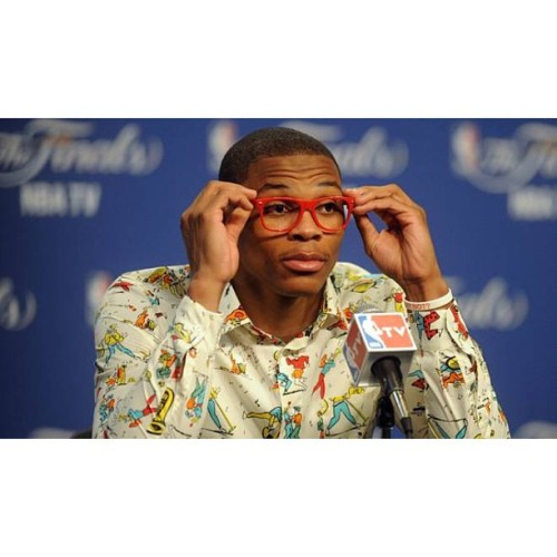 Russlle Westbrook's fashion sense isn't ordinary for a NBA All-Star Point Guard, Olympic Gold Medalist, and 2012 NBA Western Conference Championship recipient.The sport doesn't make him, he makes the sport. #WhyNot #SwaggOnHeem 👕👔👖👟👞😎