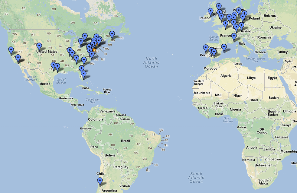 I started a GoogleMap to track all the places I've been.  Sometimes it feels like a lot, but when I look at this map there is just so much without a blue dot on it yet…