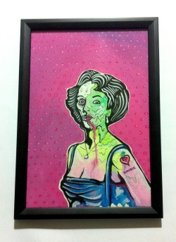 Liz Taylor zombie -gouache paints on card signed and sealed!