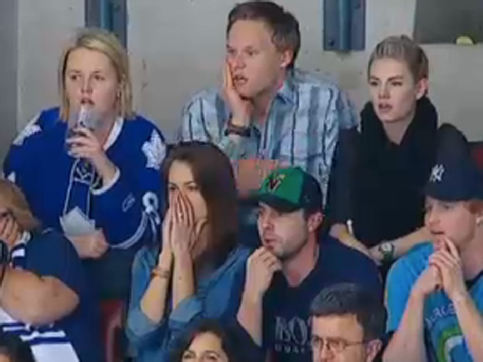 "nationalpostsports:  Yes, yes the Elisha Cuthbert eye roll is dominating the news today, which is kind of surprising given the OT thriller between the Leafs and Bruins on Wednesday night. But we cleared a few things up: No, Cuthbert was not giving the stink eye to James Reimer's wife April. OK? OK. You may now continue your life/stop making ""Kim Bauer"" jokes. Phew. Read about it here."
