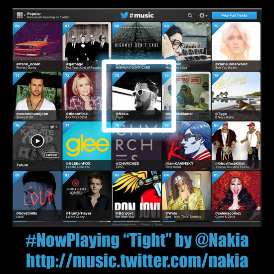 "This just in! ""Tight"" has now moved over 45 slots on the #TwitterMusic #Popular Chart in just under two hours! Currently at number 73!! Help it go even higher by playing #NakiaMusic at http://music.twitter.com/nakia"