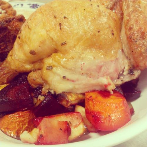Roasted chicken with a melange of vegetables; beets, carrots, celery, red onions and sweet potatoes.