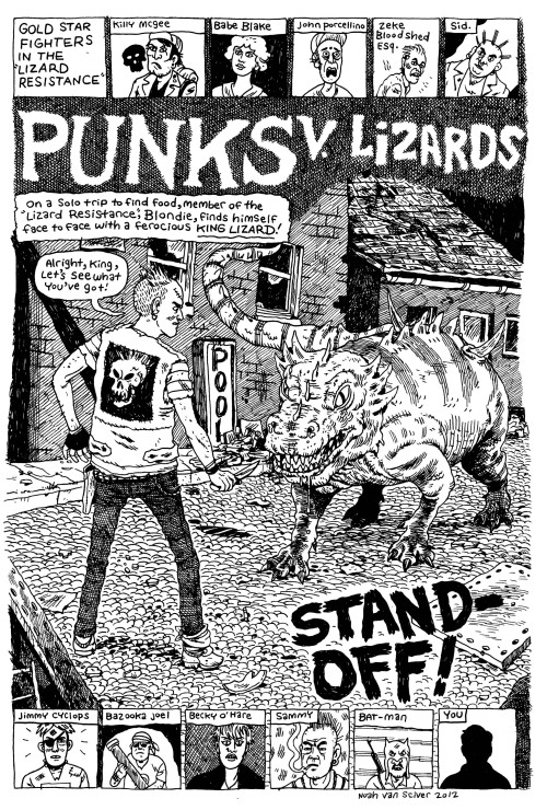 noahvansciver:  Punks v. Lizards from the upcoming Blammo #8.   This is fucking cool
