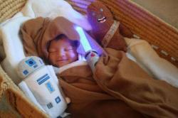 May the tiny force be with him. (via lovemaltine)