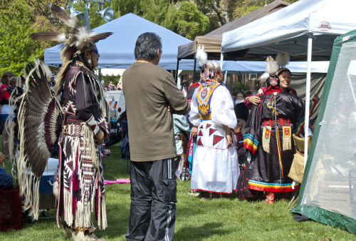 Welcome embrace at Powwow 2013: East Quad. UC Davis, 04-13-13.