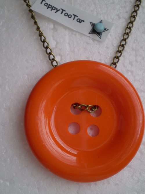 Large Orange Button Necklace Available on Etsy(click picture)