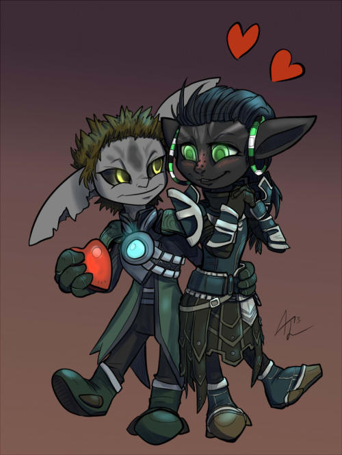 runicknight:  Adorable Tinies! Belated Valentines for EchoDreamer! Demitorah and Trigura! Asurans on the Tarnished Coast server in Guild Wars 2! http://echodreamer.tumblr.com/