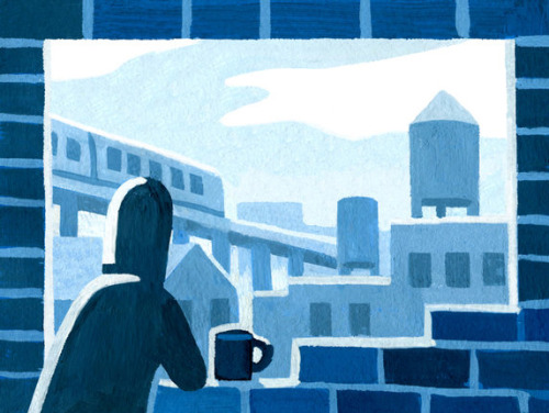 "chibirmingham:  NY Times ""Townies"": Cinderblock City I brought my gouache kit out of retirement last week for an illustration in the NY Times ""Townies"" blog. (You can check out the story here.) Thanks to Alexandra Zsigmond for the assignment!"