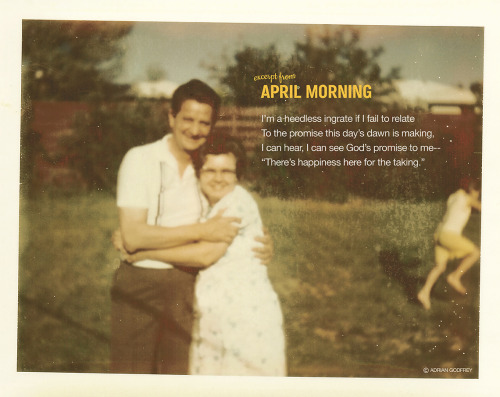 Pictured: Adrian and Annamary Godfrey and grandchild Excerpt from April Morning by Adrian Godfrey