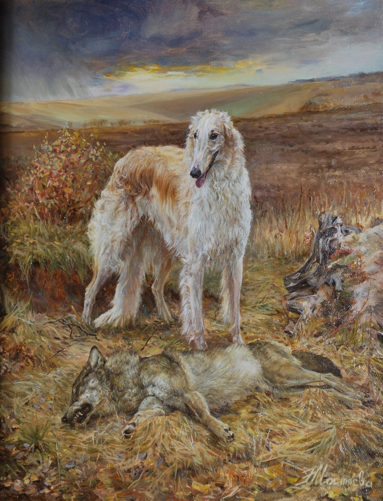 The hunt. Borzoi dog with his kill.