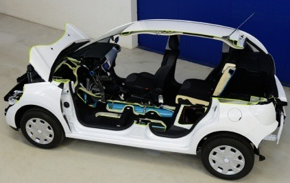 stoweboyd:   Air-powered hybrid car unveiled. Peugeot Citroen have shown off a hybrid car which can run on petrol or compressed air, or a combination of both. The 'Hybrid Air' system uses a petrol engine for travelling at 'cruising' speeds, where the makers say petrol is still the most efficient power source. At slower speeds or when the vehicle needs extra power to climb a hill, the car uses a combination of compressed air and petrol. At slower speeds below 43mph the car runs solely on compressed air until the supply runs out. The air tanks are refilled during all modes of driving, by re-using energy normally lost during slowing down and braking, instead using that energy to run an air compressor. The makers claim an average fuel saving of 45 percent, and when driving solely around cities at slower speeds that figure could rise to 80 percent. The car is expected to be available by 2016.  (h/t 8bitfuture)