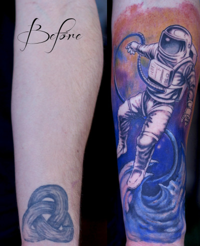 gravenimagetattoo:  Started this astronaut forearm cover-up piece on Steven last week.     Artist: Paco Dietz Studio: Graven Image Tattoo, Santa Clara CA