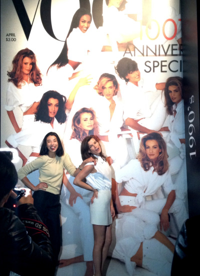Lily Kwong and I hanging out with all the supermodels at the Vogue exhibition in Beijing.