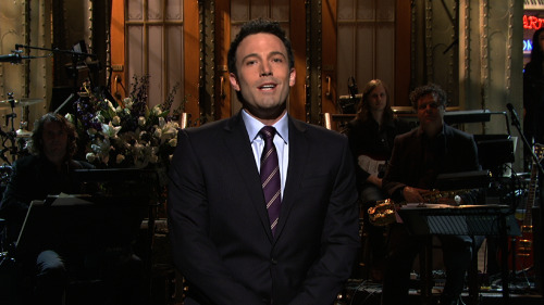 "nbcsnl:  Ben Affleck: Five-Timer Tonight's Season 38 finale marks Ben Affleck's fifth time hosting and his entrance into the esteemed Five Timers Club. This is his first time hosting since November of 2008, just days before the presidential election. His monologues have included cameos from fellow SNL hosts Gwyneth Paltrow and Alec Baldwin. Take a look back at his first four monologues before Ben takes the 8H stage to introduce tonight's season finale with musical guest Kanye West: Season 25 — February 19, 2000: Ben feels overshadowed by Gwyneth Paltrow while she makes her cameo (Musical guest: Fiona Apple) Season 29 — March 13, 2004: Ben cashes in on the ""Bennifer"" craze with a new line of T-shirts (Musical guest: N.E.R.D.) Season 30 — October 2, 2004: Ben's joined by Alec Baldwin who accuses Affleck of stealing his moves (Musical guest: Nelly) Season 34 — November 1, 2008: With the presidential election just days away, Ben reflects on some of the endorsements he's made in the past uses that to back his 2008 candidate (Musical guest: David Cook)"