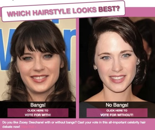 Woah! Zooey Deschanel has gone from bangs to no bangs! What do you think? Which hairstyle do you like better?