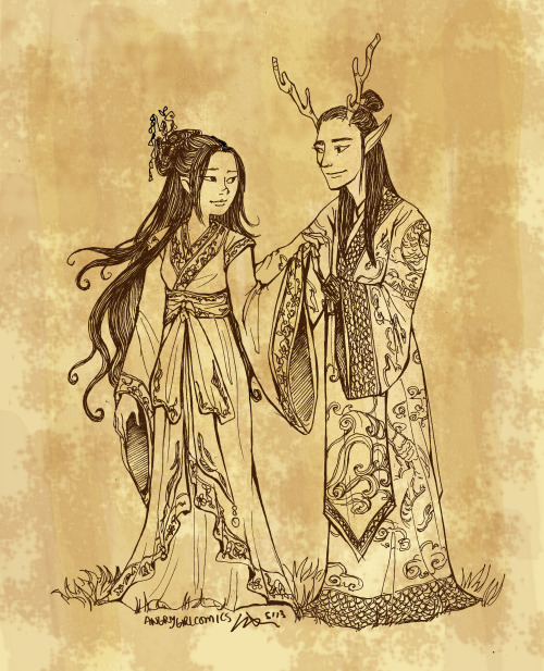 angrygirlcomics:  in Chinese mythology, the Dragon Kings ruled the four seas and often had fearsome half-human half-dragon forms. throughout the land in shadowy groves and clandestine coves lurked fox spirits, beautiful, cunning creatures who often took the form of seductive young women. while the Dragon Kings often were frightening in appearance, their children were quite lovely and could take fully human forms. I wanted to draw a fairy tale story with a fox spirit and a dragon prince. please do not remove my commentary if you do reblog, thank you!   I love this!