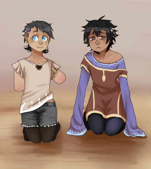 crossyarts:  nirani and lula are like my go-to femme boys just flook at them this is also the first time i've drawn human AU nirani! he is, most likely, hispanic/korean (clean cut full blood on either side).
