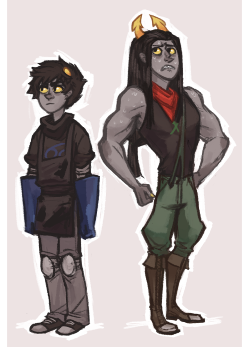 a few anons were asking for full body bloodbent equius & karkat so i put them both in one image i hope that is okay i'll also post the info part later as a readmore text post since you guys also wanted that. i'd say also look at formspring but there isn't much about equius there and whatever i said about karkat is really outdated and wrong and i have changed it a lot for the better so ignore whatever is there (but u can still ask stuff on formspring) one thing i will not answer is about equius' lusus though, that is a secret between me and only one other very special person