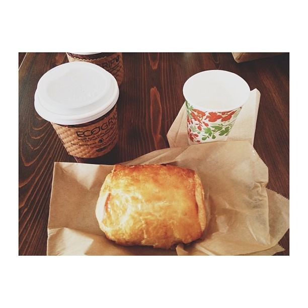 Chocolate croissant and a black coffee. 👌 (at Brown's Court Bakery)
