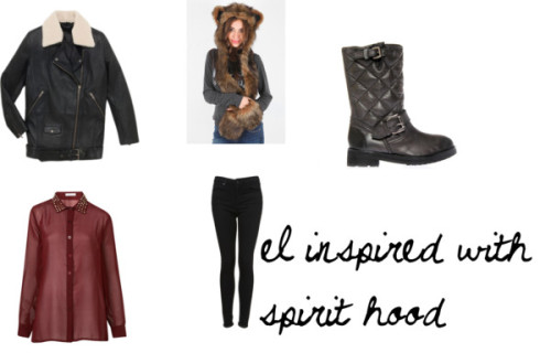 Eleanor Inspired with spirit hood by elcalder-vivalamoda featuring biker bootsEmbellished top, $55 / Long leather jacket, $720 / Skinny jeans / Biker boots, $225 / Spirit Hoods Grizzly Bear Hood
