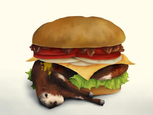 "vegan-art:  Artist: Aaron Rutten  |  Title: ""Deluxe Double Cheeseburger With Bacon"""