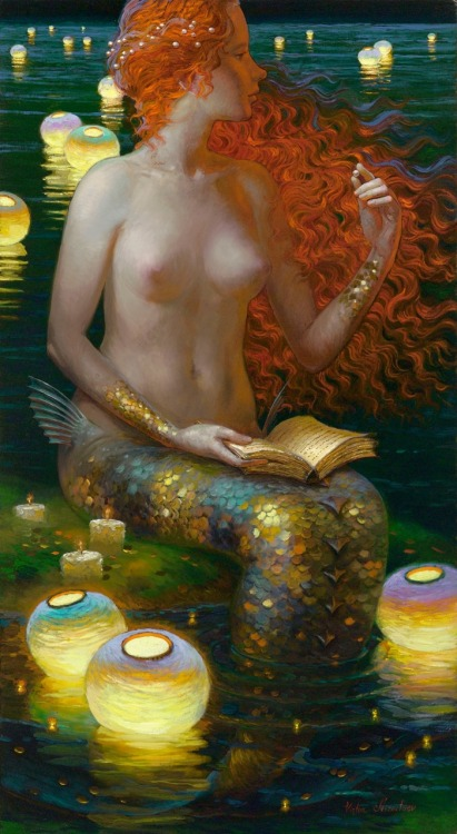 rosalarian:  typette:  silverpastel:  luz-sonriente:  Siren Song series by Victor Nizovtsev  I FUCKIN LOVE MERMAIDS I JUST WANNA SHOUT IT FROM THE ROOFTOPS PLEASE LET ME BE ONE OF YOU  ahh I love it, her scales look like pretty coins I want all of these as prints so I can hang them up in my room   Some amaaaaaaazing merms.