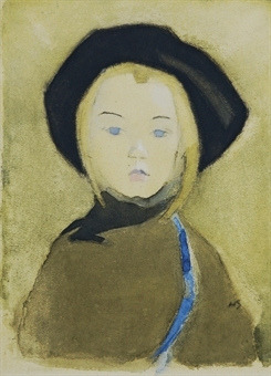 Schjerfbeck, Helene (1862-1946) - 1943 Girl with Blue Ribbon (Christie's London, 2008) by RasMarley on Flickr.