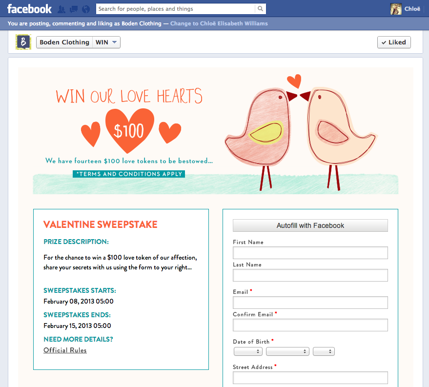 This is a Valentine's Day competition I briefed, wrote copy for and created using Wildfire Social Marketing platform and Facebook Developers app for Boden USA.