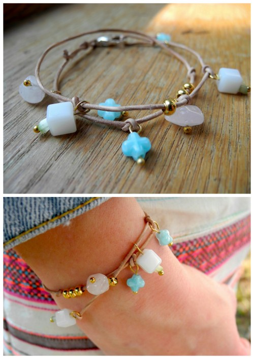 DIY Easy Knotted Leather Beaded Charm Bracelet Tutorial from Meli Melo here. This is so easy because you use the leather to knot on the lobster clasp and use head pins for the beaded charms. I used Chrome to translate from German to English but there is a translation button on the lower right hand side. For more than 80 pages of DIY bracelets go here: truebluemeandyou.tumblr.com/tagged/bracelet
