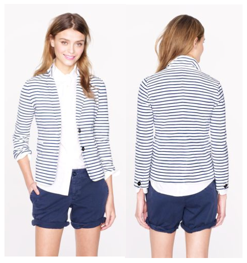 ititsofficial:  The adorable maritime stripe blazer is now on sale plus an extra 20% off all J.Crew orders using code LOOK20 at checkout!!!
