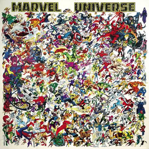 "seanhowe:  50"" by 50"" Marvel Universe poster. Art by Ed Hannigan.  My mom bought this when we were at a comic shop in the mid 90s. I was a kid lucky enough to have a mom who loved comics. We never got around to getting it framed, because it is huge. Now this poster still sits in its original tube, in a closet of the home I share with my wife. We are getting this motherfucker framed."