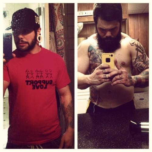 xtofux:  #transformationtuesday 30 pounds ago. #liftbigeatbig #xtofux  #tt #tattoos #beard