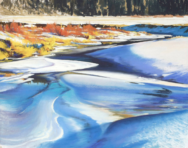 Thaleia Georgiades  -  River Flow in Ice and Snow Pastel, 22 x 28 inches