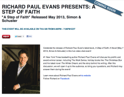 Video-chat with bestselling author Richard Paul Evans about his WALK series and the newest addition to it,  A STEP OF FAITH, on Shindig!