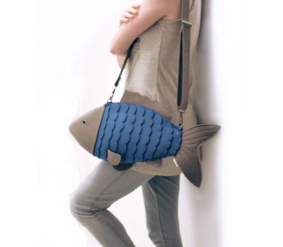 """Blue Fish"" Purse by krukrustudio"