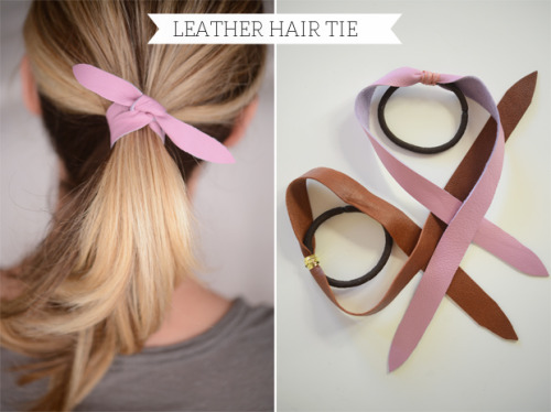 scissorsandthread:  Leather Hair Tie | Cupcakes & Cashmere Ponytails don't have to be boring - tie one of these sweet little hair ties on and you've got an instant stylish look!