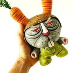 "8"" dunny ""All about Zanahorias"" to be auctioned soon #dunny #kidrobot #chauskoskis  #toylife #arttoy #customtoy #rabbit"