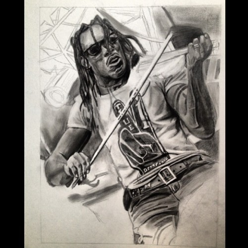 So close to finishing. Drawing of Boyd Tinsley of @davematthewsband. Graphite on posterboard.
