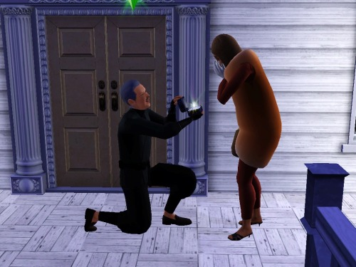 "simsgonewrong:  ""Will you…marry me, Hot Dog?"" ""Omg yes, 99 year old man!"""