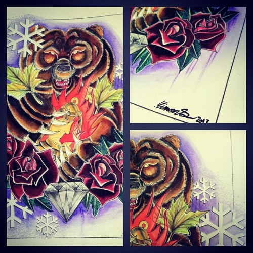 Bear détail #finish #paint #art #tatoo #tattoo #flash #aquarelle
