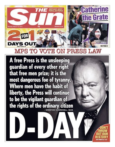 The Sun (UK), March 18, 2013 A tad dramatic.
