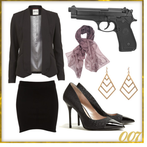 Bond Styles: James Bond II by victoriasully featuring a style trystObject Collectors Item blazer, $22 / Bardot bodycon skirt, $51 / DKNY pointed toe pumps / Style tryst / Valentino silk scarve