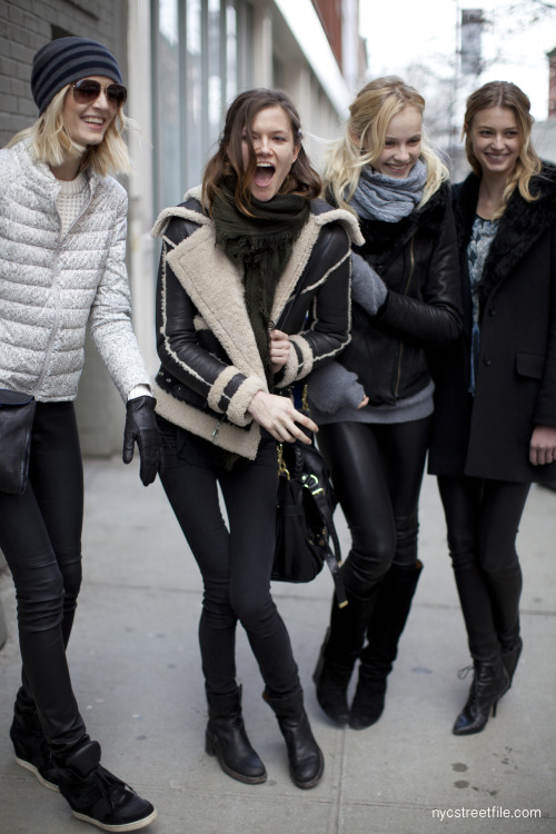 nycstreetfile:  Girls just wanna have fun!(Daria Strokous, Kasia Struss, Ginta Lapina, Singrid Agren)