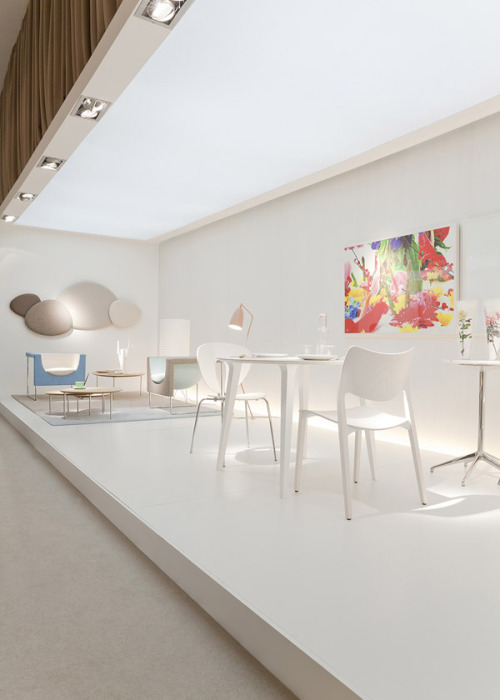 "The STUA stand in the Milano fair, with ""love your home"" concept.This side features the more scandivavian flavour of the STUA collection with new colours. STUA Design Etc"