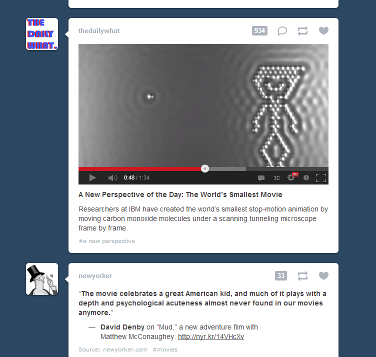 Tumblr juxtaposition of the day. Great emotional depth from a tiny atom movie?  Here's the actual IBM atom movie. It's made with science.