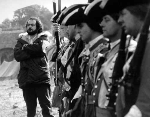 Stanley Kubrick on the set of Barry Lyndon (1975).