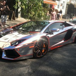 Chrome #lambo in #williamsburg with bright orange lines